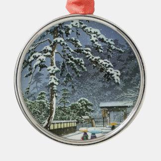 Honmonji Temple in Snow - Kawase Hasui 川瀬 巴水 Metal Ornament
