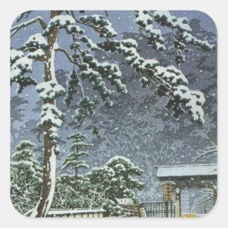 Honmonji Temple in Snow - Kawase Hasui 川瀬 巴水 Square Sticker