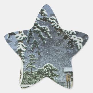 Honmonji Temple in Snow - Kawase Hasui 川瀬 巴水 Star Sticker