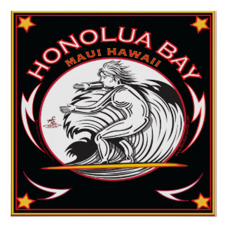 HONOLUA BAY MAUI HAWAII SURFING POSTER
