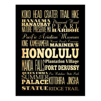 Honolulu City of Hawaii State Typography Art Postcard