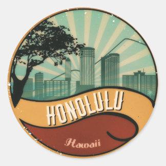 Honolulu City Skyline Retro Vintage Sticker