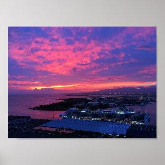 Honolulu Harbor Sunset Poster