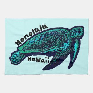 Honolulu Hawaii artistic sea turtle Kitchen Towel