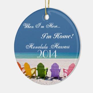 Honolulu Hawaii  BEACH LOVER GIFT ORNAMENT 2014