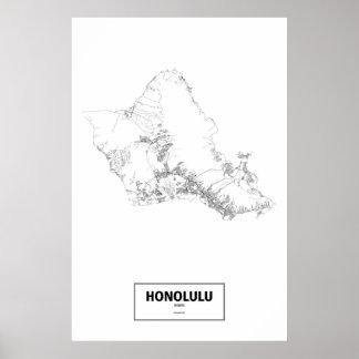 Honolulu, Hawaii (black on white) Poster