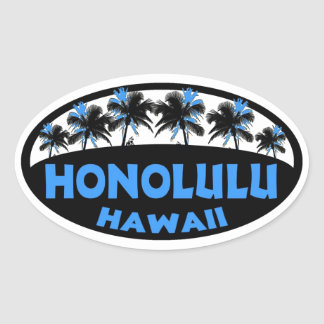 Honolulu Hawaii blue black palms oval stickers