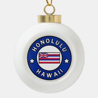 Honolulu Hawaii Ceramic Ball Christmas Ornament