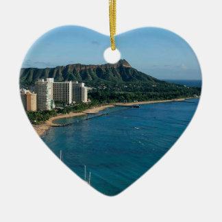 Honolulu Hawaii Ceramic Heart Ornament
