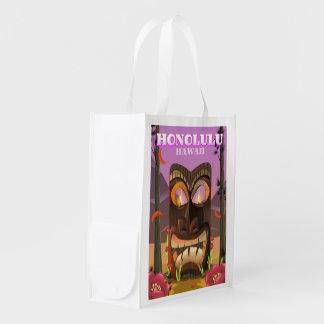 Honolulu Hawaii face mask travel poster Reusable Grocery Bag