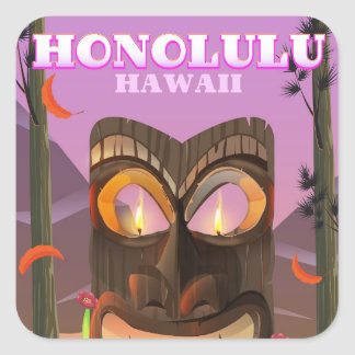 Honolulu Hawaii face mask travel poster Square Sticker