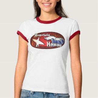 Honolulu Hawaii ladies surfer waves art red tee
