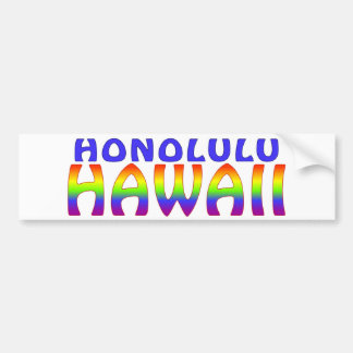 Honolulu Hawaii rainbow words Bumper Sticker