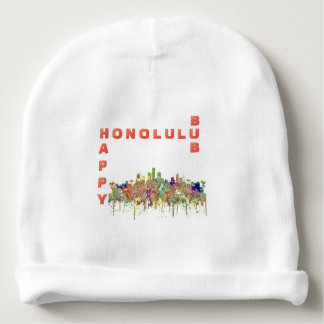 Honolulu Hawaii Skyline SG-Faded Glory Baby Beanie