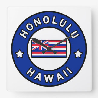 Honolulu Hawaii Square Wall Clock