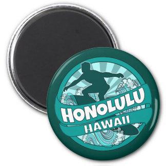 Honolulu Hawaii teal surfer logo magnet