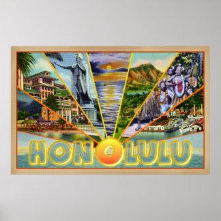 Honolulu Hawaii vintage-style postcard Poster