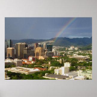 Honolulu Rainbow Poster