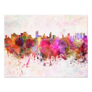 Honolulu skyline in watercolor background fotografia