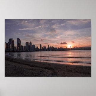 Honolulu Sunset Beach Poster