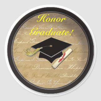 Honor Graduate!! Classic Round Sticker