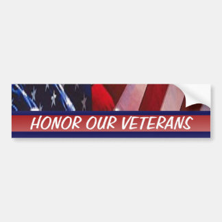Honor Our Veterans Patriotic Military Bumper Sticker