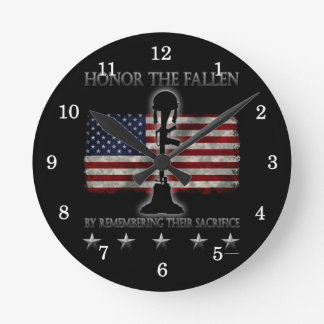 Honor The Fallen Round Clock