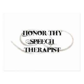 Honor Thy Speech Therapist Postcard