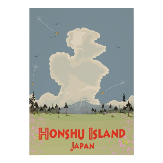 Honshu Island,Japan travel poster