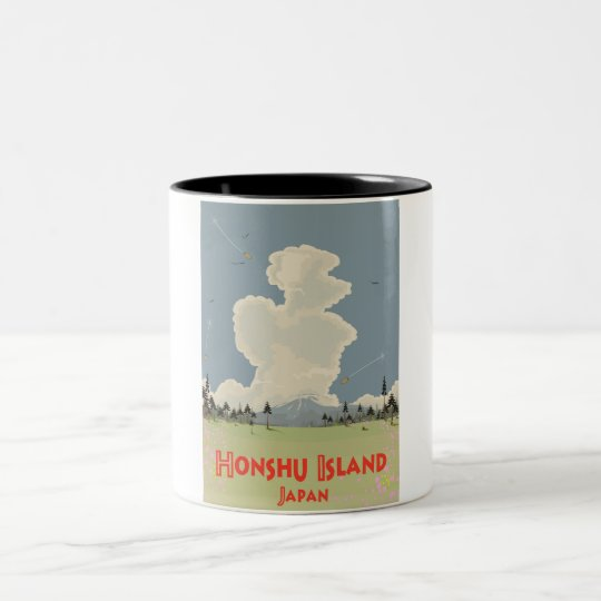 Honshu Island,Japan travel poster Two-Tone Coffee Mug