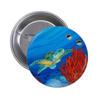 Honu and Black Coral 2 Inch Round Button