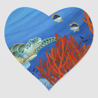 Honu and Black Coral Heart Sticker