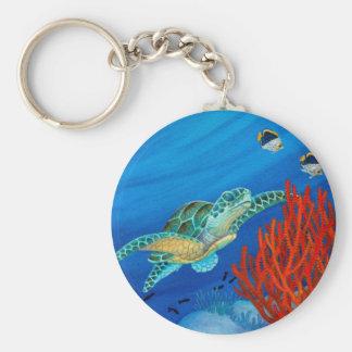 Honu and Black Coral Keychain