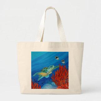 Honu and Black Coral Large Tote Bag