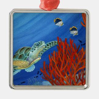 Honu and Black Coral Metal Ornament