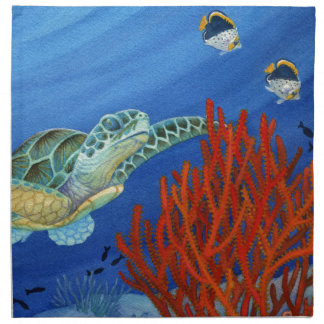 Honu and Black Coral Napkin
