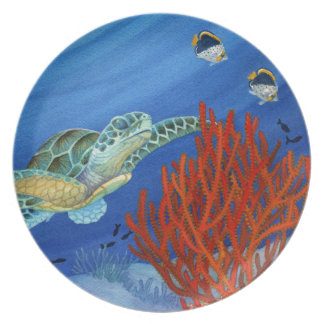 Honu and Black Coral Party Plates