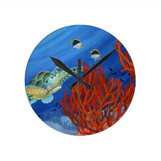 Honu and Black Coral Round Clock