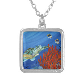 Honu and Black Coral Silver Plated Necklace