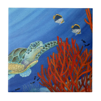 Honu and Black Coral Tile