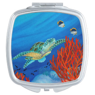 Honu (Green Sea Turtle) and Black Coral Compact Mirrors