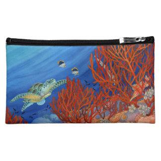 Honu (Green Sea Turtle) and Black Coral Cosmetic Bag