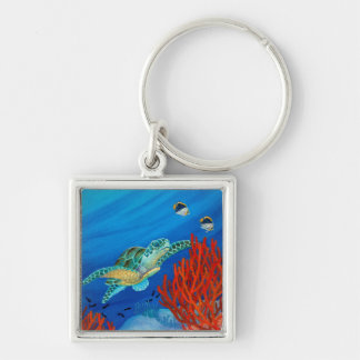 Honu (Green Sea Turtle) and Black Coral Keychain