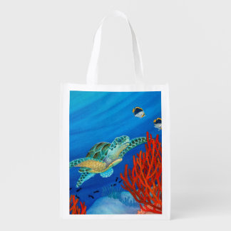 Honu (Green Sea Turtle) and Black Coral Reusable Grocery Bag