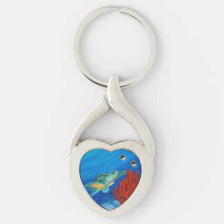 Honu (Green Sea Turtle) and Black Coral Silver-Colored Twisted Heart Keychain