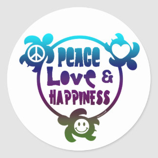 Honu Peace Love Happiness Classic Round Sticker