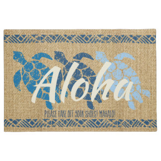 Honu Sea Triple Turtle Hawaiian Tapa Blue Doormat