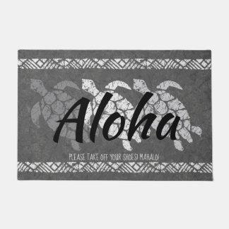 Honu Sea Triple Turtle Hawaiian Tapa Gray Doormat