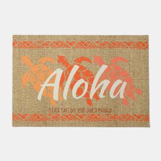 Honu Sea Triple Turtle Hawaiian Tapa Papaya Doormat