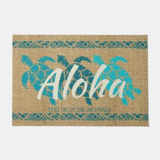 Honu Sea Triple Turtle Hawaiian Tapa Teal Doormat